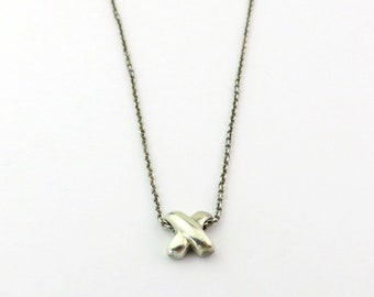 Authentic TIFFANY & CO Sterling Silver Signature Cross X Pendant Necklace