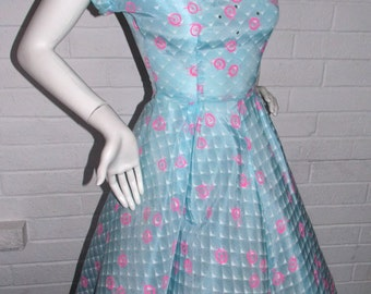 60's Atomic Sweetheart Day Dress with Rhinestone Accent - SM