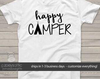 happy camper - kids camping shirt - fun vacation tshirt summer camp MCMP-003