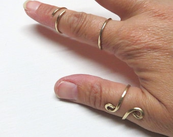 Adjustable Hammered Brass or Reclaimed Copper Ring with Swirl, Overlap, Arrow or Simple Band