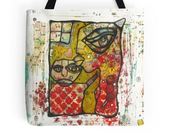 Funky Colorful Tote Bag Unique Beach Bag Grocery Bag Art Bag Mixed media Art Tote Computer Bag Gym Bag Artist Tote Bags Faces Bag Kiss Bags
