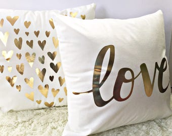 Set of 2 Love-hearts, White Gold Pillow Cover, 2-5 days shipping- Decorative Pillow-Throw Pillow, love gold pillow, soft plush