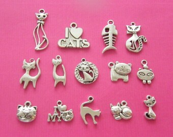 The Cat Collection - 14 antique silver tone charms