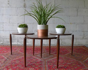 Mid Century Modern STACKABLE Plant Stands / End Tables