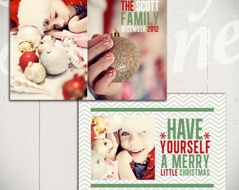 Christmas Card Template: Deck The Halls C - 5x7 Holiday Card Template for Photographers