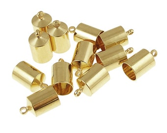 12 Kumihimo Cord Caps Gold Plated 6mm Large Cord End Caps Kumihimo Supplies (KH29)