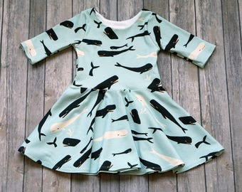 READY TO SHIP. Whale Dress. Size 2T. 3/4 Sleeves. Ocean Dress. Fish Dress. Organic Dress. Toddler Dress. Twirl Dress. Twirly Dress.