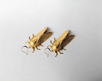 Brass Cicada earrings