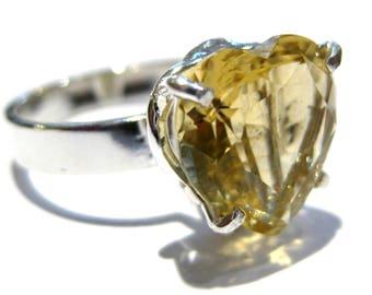 citrine Ring  heart  silver 925%