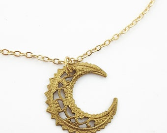 Brass Crescent Moon Necklace