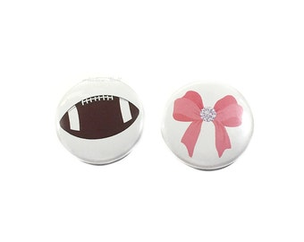 "Gender Reveal, Football, Pink Bow, 1"", 1.5"", 2.25"", Pinback Button, Baby Shower, Boy or Girl, Football Pin, Baby Reveal Pin, Football or Bow"