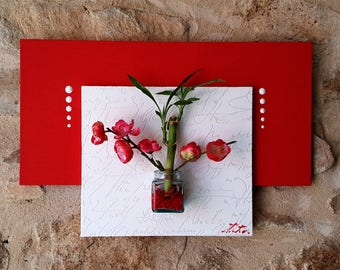 Plant picture(Board) and floral red and white cherry blossom and bamboo plant table