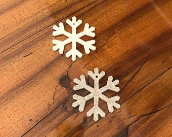 9 cm felt snowflake Christmas Tree 100% Merino 5 mm hand stamped woolly cream beige mottled Christmas ornaments wool felt snowflake