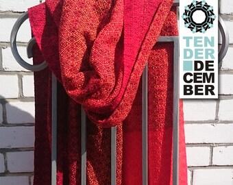 Blanket shawl, red and orange, handmade weaving, acrylic shawl, red scarf, weaving shawl women, handmade shawl, big scarfs,  woven shawl,