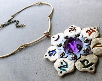 Chakra Mandala Necklace with Amethyst, Chakra Symbols, Chakra Beads, Chakra Colors, Chakra Balancing, Lotus Flower, Handmade, Metalsmithed