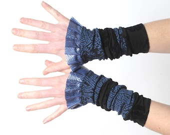 Black and blue cuffs, Long jersey cuffs, Patchwork jersey armwarmers, Ruffled wrist warmers, Gift for her, Womens accessories, MALAM