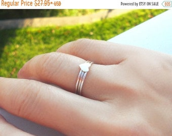ON SALE Sterling Stack Rings, Stacking Ring Set,  Set of 3, Sterling Heart w/ 2 Dainty Bands, Choose Smooth or Twisted bands