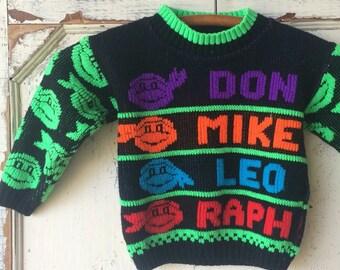 Vintage 1990 teenage mutant ninja turtles kids sweater 2T
