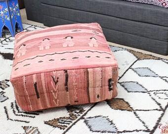 MOROCCAN KILIM POUF Pouffe Extra Large Floor Cushion Pillow Cover Handmade Handwoven 60 cm x 60 cm x 25 cm  / 25.6''x 25.6''x 10'' (KP12)
