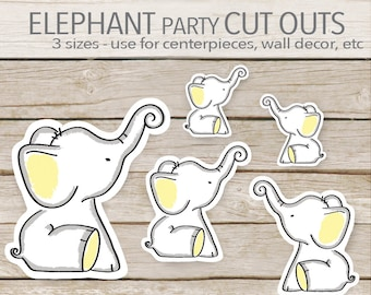 Yellow Elephant Party Decoration - Instant Printable Download - Elephant Cut Outs - Elephant Baby Shower cut outs - toppers - 3 sizes