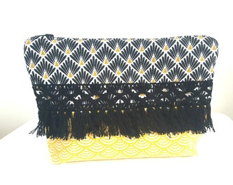 Pouch ethnic printed black and yellow with Black Lace fringe.