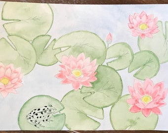 Original Watercolor Lily pads and water lilies - watercolor water lily - watercolor lily pad and frog - pink flowers watercolor