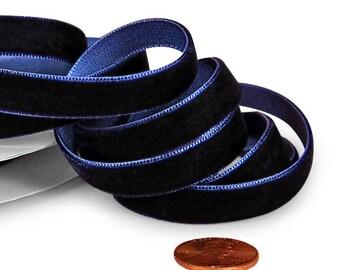 2 yards of 5/8' Navy Velvet Ribbon