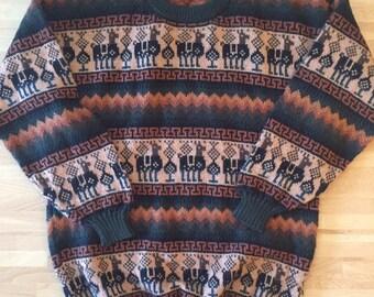 Vintage Alpaca hand knit sweater // mens M
