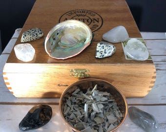 smudge kit, abalone shell with white sage, ritual, cleanse, purify, protect, wiccan, meditation, altar tools