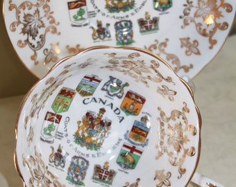 Canada Tea Cup & Saucer by Paragon China of England by Royal Appointment to Queen Elizabeth c1950s. 3 Available