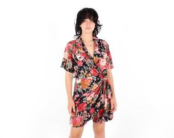 80s Rainbow Floral Gauze Plunge Deep V Short Sleeve Shirt Jumpsuit / Onesie / Romper / Playsuit