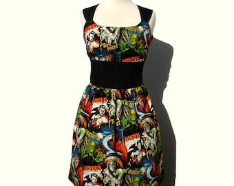 Plus Size Extra Large ( XL ) Rockabilly Pinup Classic Pinup Horror Print Dress / Pin Up Rockabilly Dress