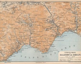 1929 Salerno, Amalfi, Amalfi Coast Italy Antique Map