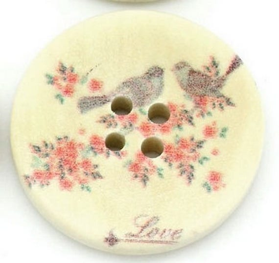 BBR30243 - 2 BUTTONS ROUND 30 MM WOODEN PATTERN WITH COLORS