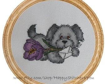 Cross Stitch Pattern PDF dog puppy Jessie's Crocus DD0101