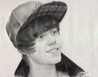 Justin Bieber Original Graphite Drawing A4