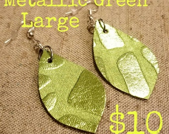 Lime Green Metallic Leather Earrings