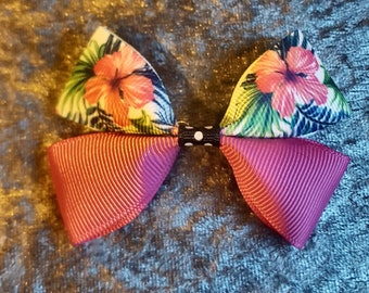 Tropical flowers hair bow clip