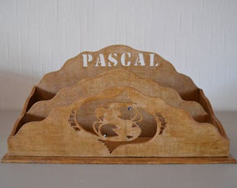wooden mail holder / desk accessory / personalized gift / decorative zodiac sign and name