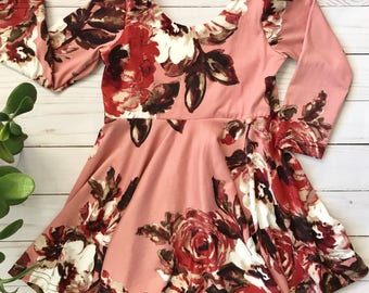 Large Rust Red Floral Peplum Top or Dress Girls 6 months to 5T