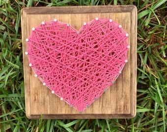 Heart String Art, String Art Heart, Rustic Gallery Wall, Wood Gallery Wall, Wedding String Art, Rustic Heart Sign, Gallery Wall Hanging