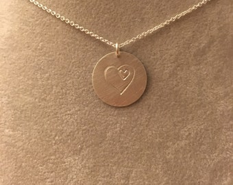 Heart within a heart hand-stamped sterling silver necklace -- motherhood adoption infant child loss miscarriage  love mother family