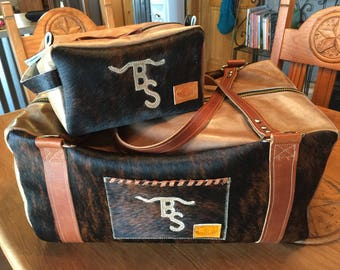 Custom made bag set with overnight duffel and makeup or shaving bag