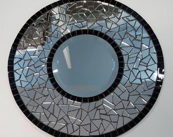 Stained Glass Mosaic Mirror, Round Mosaic Mirror, Mosaic Mirror, Stained Glass Mirror, Mosaic Art, #607R