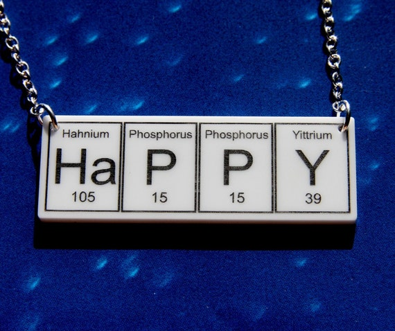 Items similar to ha p p y periodic table inspired necklace on etsy urtaz Choice Image