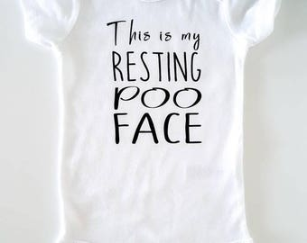 This is my resting poo face - bodysuit - Baby clothing - Baby Boy & Girl Clothes - Baby gift - bodysuit with saying - funny one piece- poop