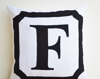 Initial Pillow, Block Letter Pillow, Personalized Anniversary Gift, Linen Monogram Pillow, Black White Pillow, Housewarming Wedding Gift