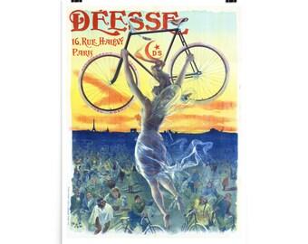 Deesse Bicycle Goddess c. 1898,  Premium Photo Luster Paper Poster