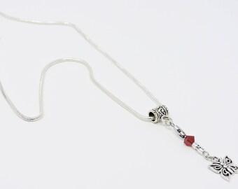 Butterfly Charm Necklace with Swarovski Crystal