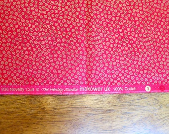 1.5 Yards Red Holiday Fabric with Gold Swirls - Christmas Fabric - Novelty Curl by The Henley Studio for Makower UK - Quiltsy Destash